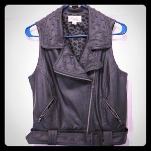 Large extra cool pleather studded vest - F21